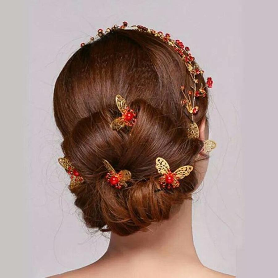 Hairpin - Goudkleurige Vlinder met Rode Parel-5