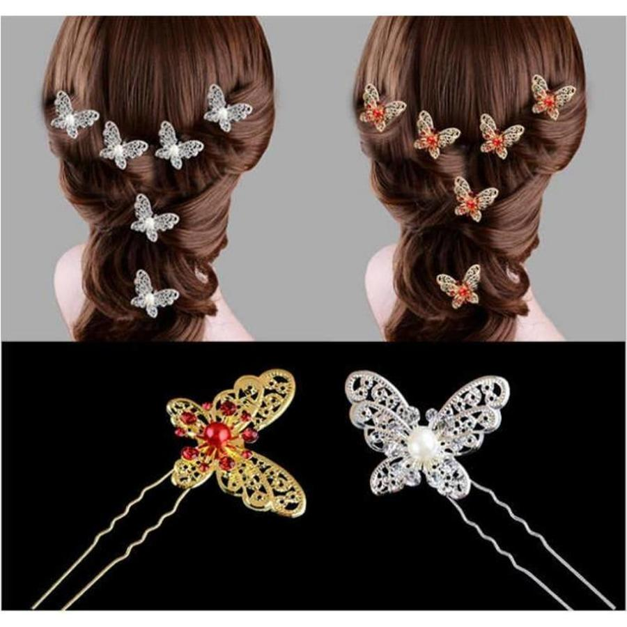 Hairpin - Goudkleurige Vlinder met Rode Parel-6