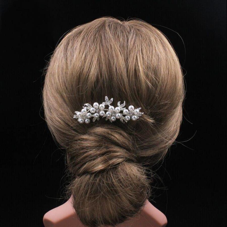 Hairpin - Bloemen met Ivoorkleurige Parels-7