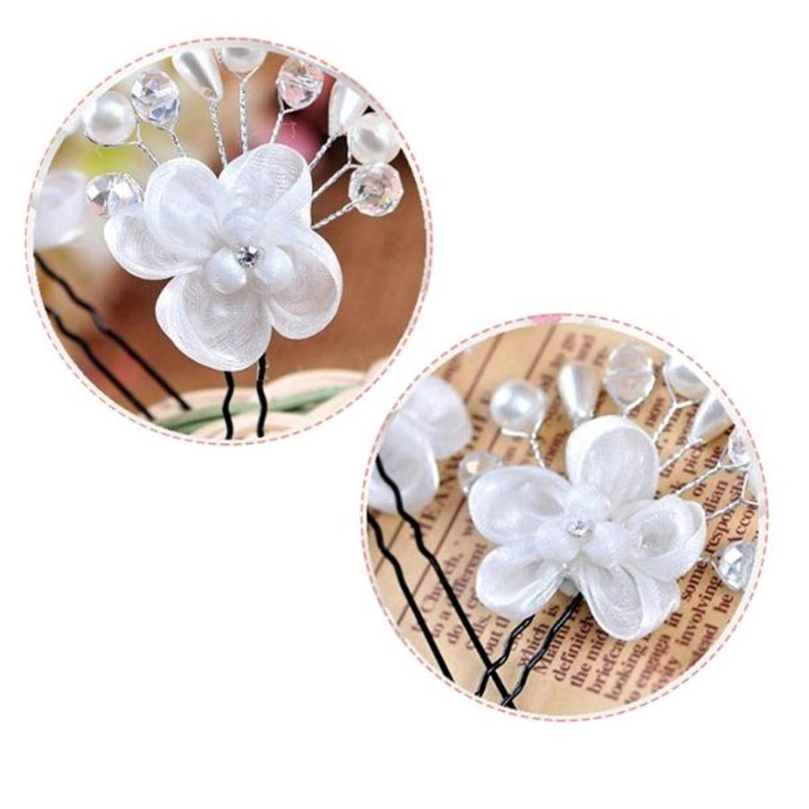 SALE - Hairpin - Elegance Flowers Strass & Pearls - 5 Stuks-7