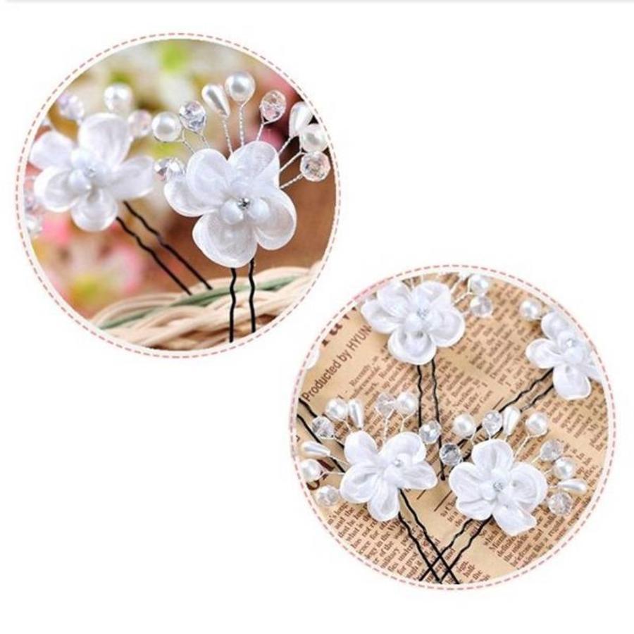 SALE - Hairpin - Elegance Flowers Strass & Pearls - 5 Stuks-8
