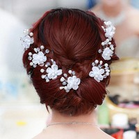 thumb-SALE - Hairpin - Elegance Flowers Strass & Pearls - 5 Stuks-4