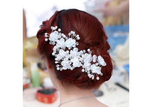 SALE - Hairpin - Elegance Flowers Strass & Pearls - 5 Stuks
