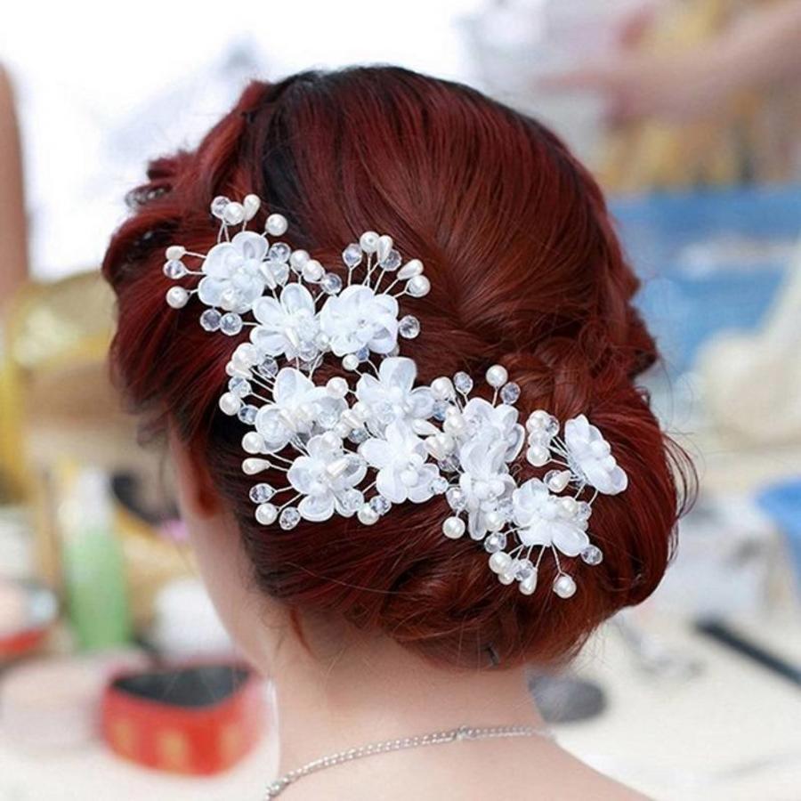 SALE - Hairpin - Elegance Flowers Strass & Pearls - 5 Stuks-1