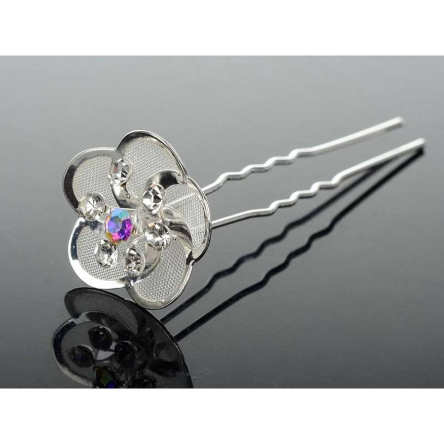 Hairpin - Zilverkleurig met Strass Kristallen-2