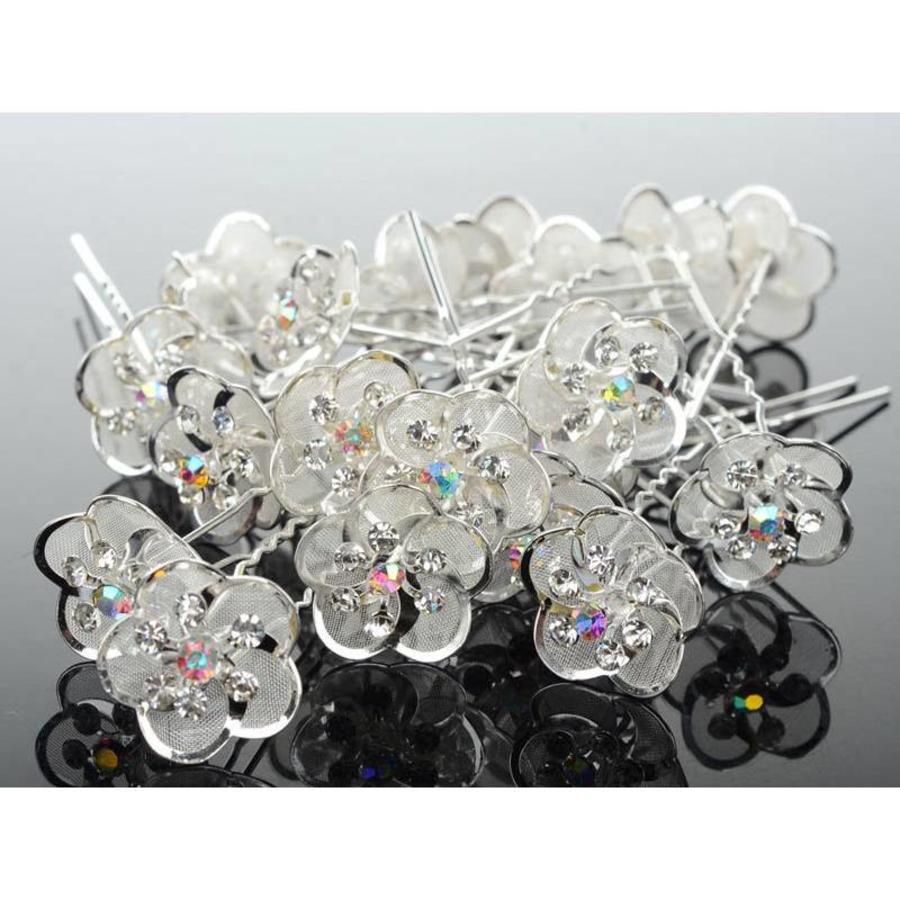 Hairpin - Zilverkleurig met Strass Kristallen-4