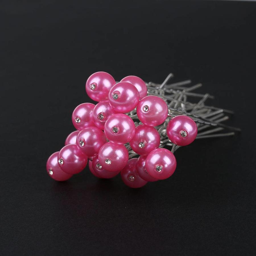 Hairpin - Parel met Diamantje Roze - 5 Stuks-2
