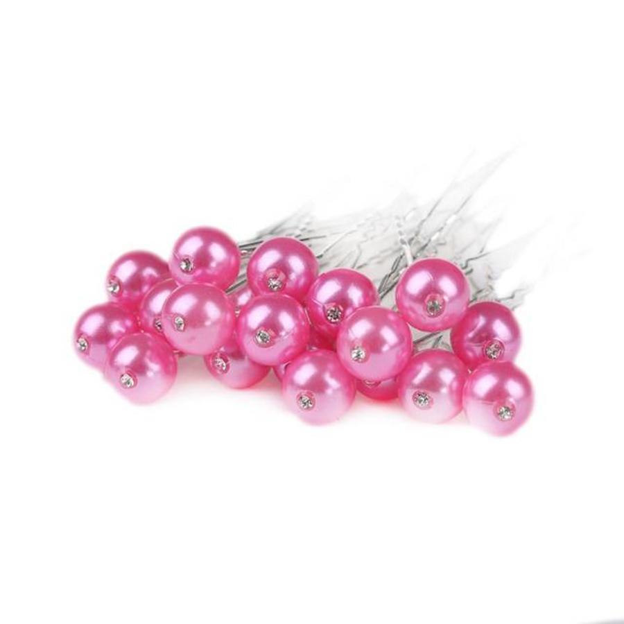 PaCaZa - Hairpin - Parel met Diamantje Roze - 5 Stuks-1