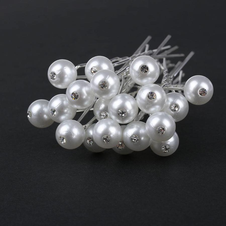 Hairpin - Parel met Diamantje Ivoorkleurig - 5 Stuks-2