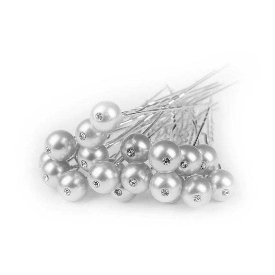 Hairpin - Parel met Diamantje Ivoorkleurig - 5 Stuks-1