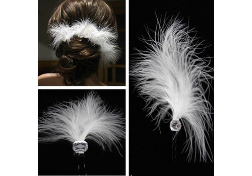 Hairpin - Feather White - 2 Stuks