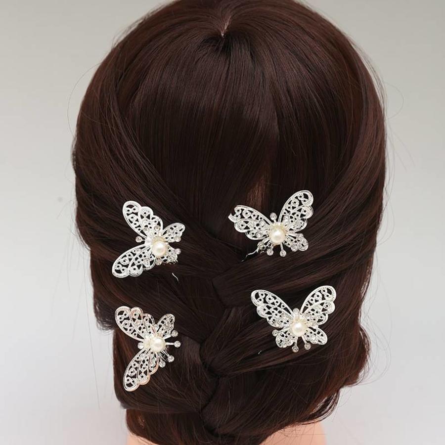 Hairpin - Zilverkleurige Vlinder met Ivoorkleurige Parel - 5 Stuks-6