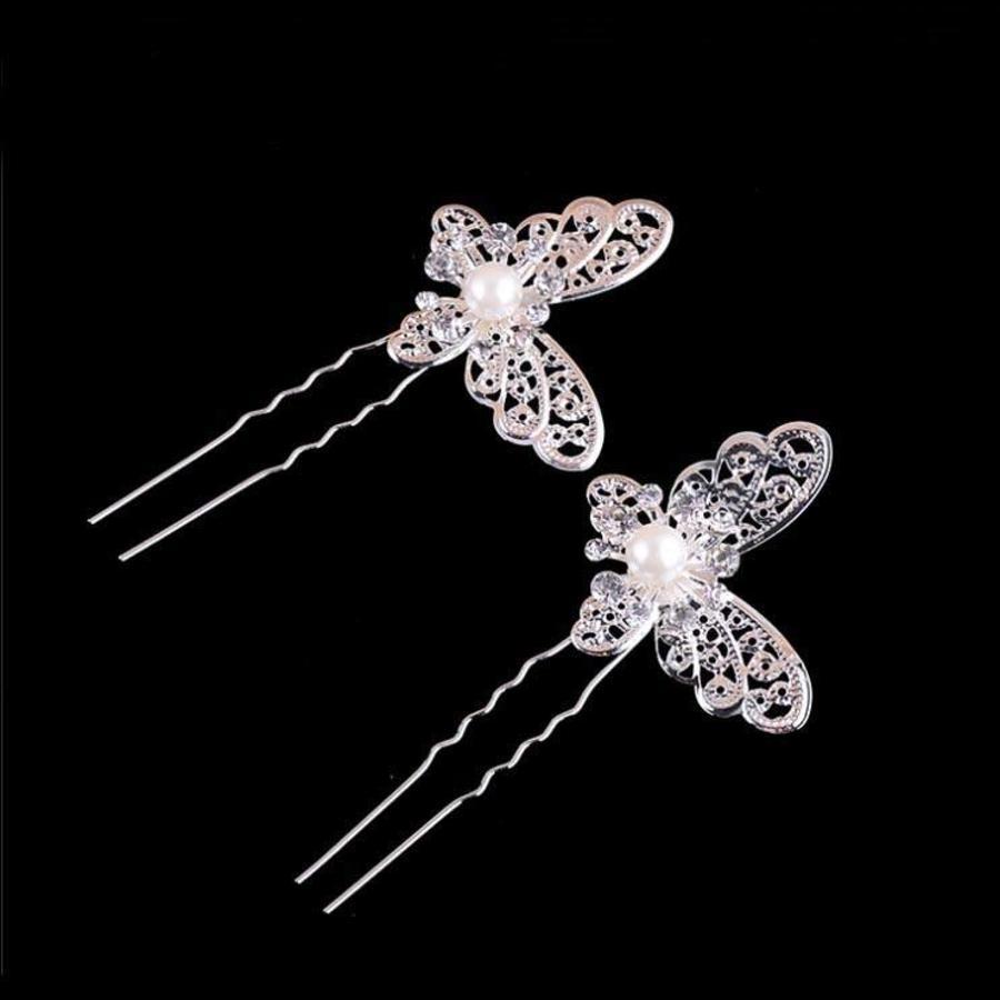 PaCaZa - Hairpin - Zilverkleurige Vlinder met Ivoorkleurige Parel - 5 Stuks-3