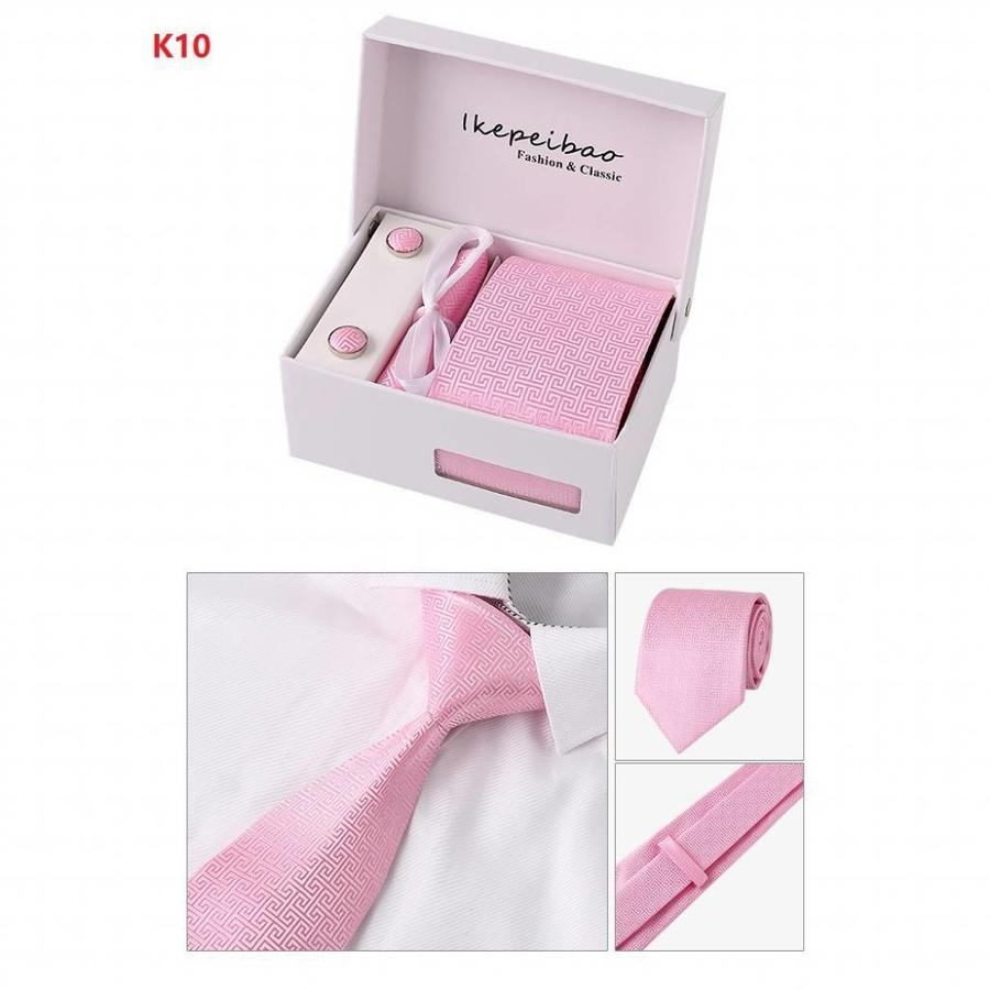 Elegante Stropdas Set in Geschenkdoos - inclusief Manchetknopen, Pochet en Dasspeld - PK10 Licht roze-2