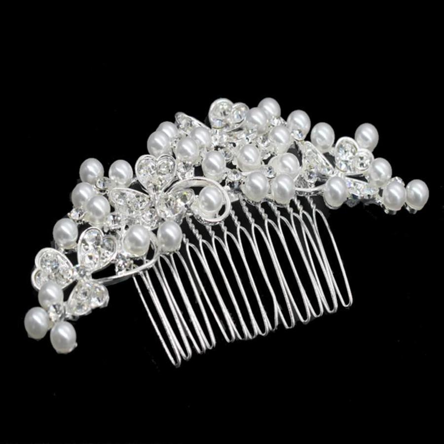 Haarkam met strass kristallen en ivoorkleurige parels-1