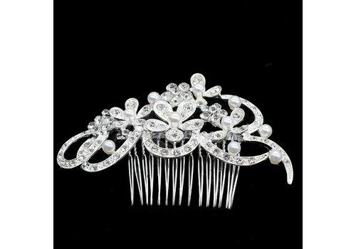 Haarkam met bloemen, bezet met ivoorkleurige parels en strass kristallen