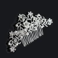 thumb-Haarkam flowers, bezet met kristallen en ivoorkleurige parels-2