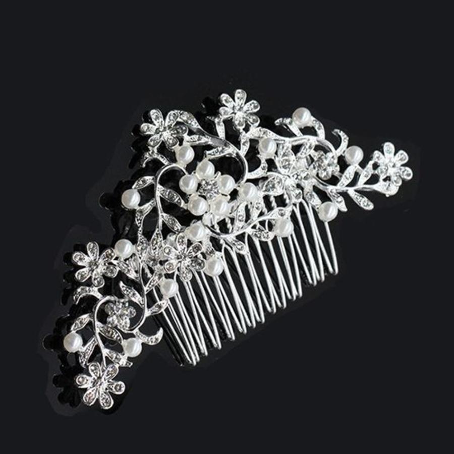 Haarkam flowers, bezet met kristallen en ivoorkleurige parels-2