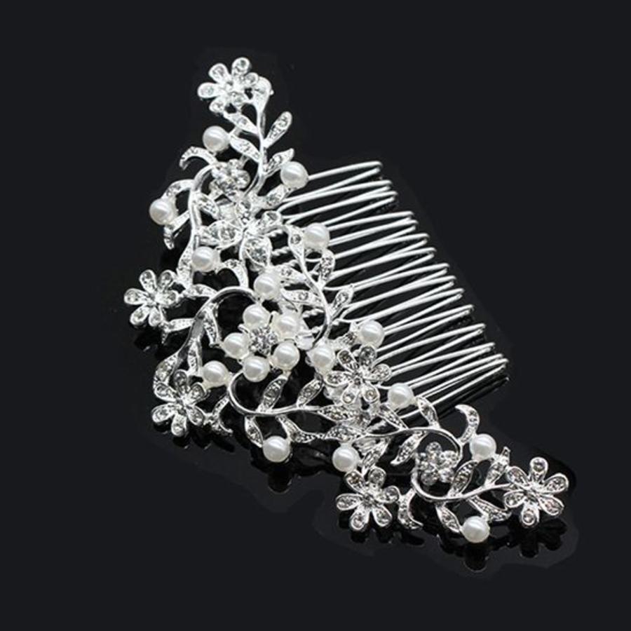 Haarkam flowers, bezet met kristallen en ivoorkleurige parels-1