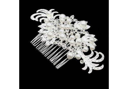 Haarkam bezet met fonkelende kristallen en ivoorkleurige parels