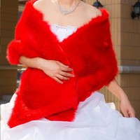 thumb-PaCaZa - Schitterende Stola / Cape - Rood-1