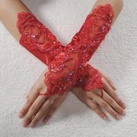 thumb-Bruidshandschoenen van Glanzend Satijn - Rood-1