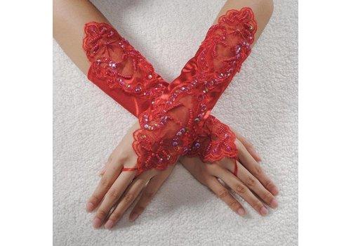 Bruidshandschoenen van Glanzend Satijn - Rood
