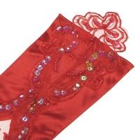 thumb-Bruidshandschoenen van Glanzend Satijn - Rood-4