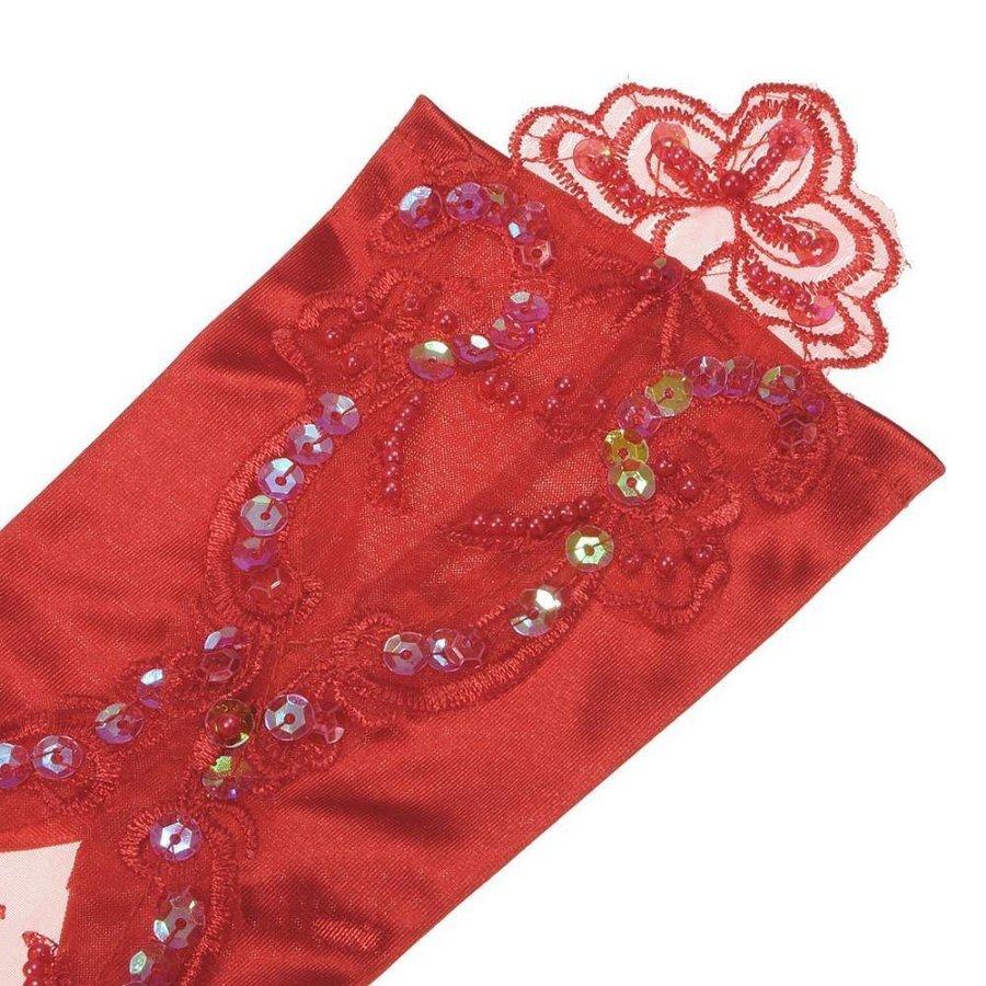 Bruidshandschoenen van Glanzend Satijn - Rood-4