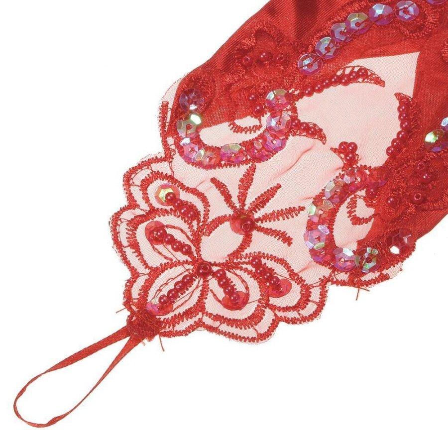 Bruidshandschoenen van Glanzend Satijn - Rood-3