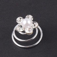 thumb-Bloem met Kristallen en Parel Curlies - 6 stuks-2