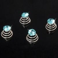 thumb-Aqua Blauwe Kristal Curlies - 6 stuks-2