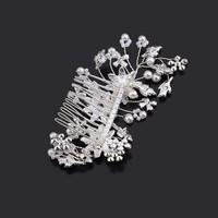 thumb-Chique Haarkam met Diamanten en Ivoorkleurige Parels-4