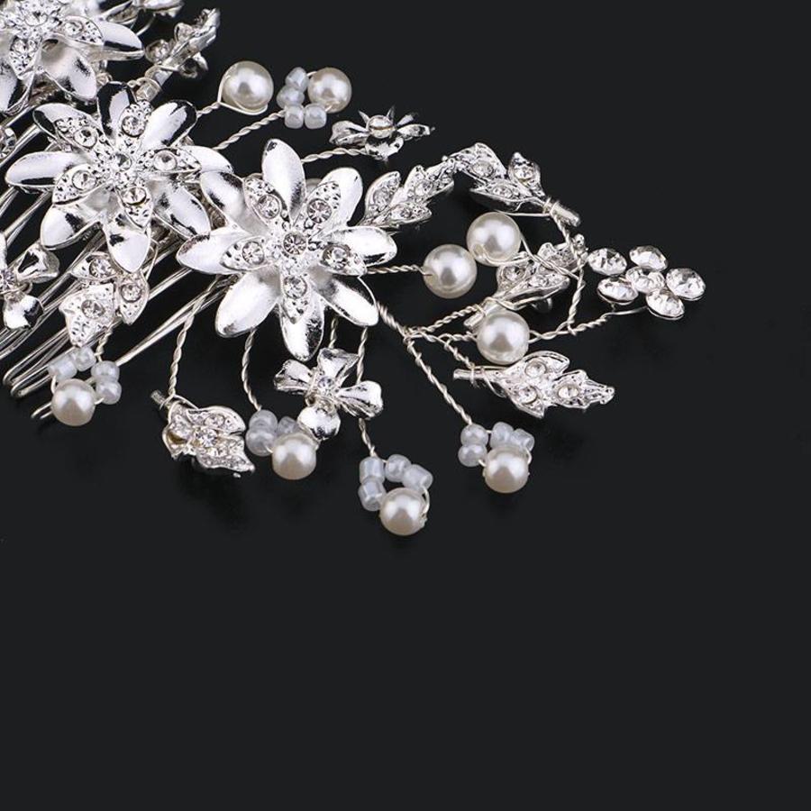 Chique Haarkam met Diamanten en Ivoorkleurige Parels-3