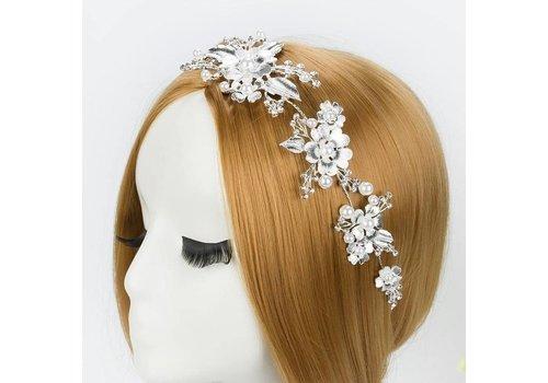 Elegant Zilverkleurig Haar Sieraad met Ivoorkleurige Parels