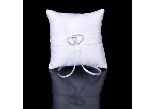 Ringkussen Wit met Fonkelende Hartjes