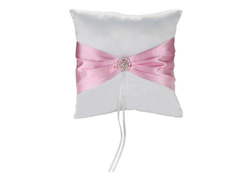 Ringkussen met Fonkelende Diamant - Roze & Wit