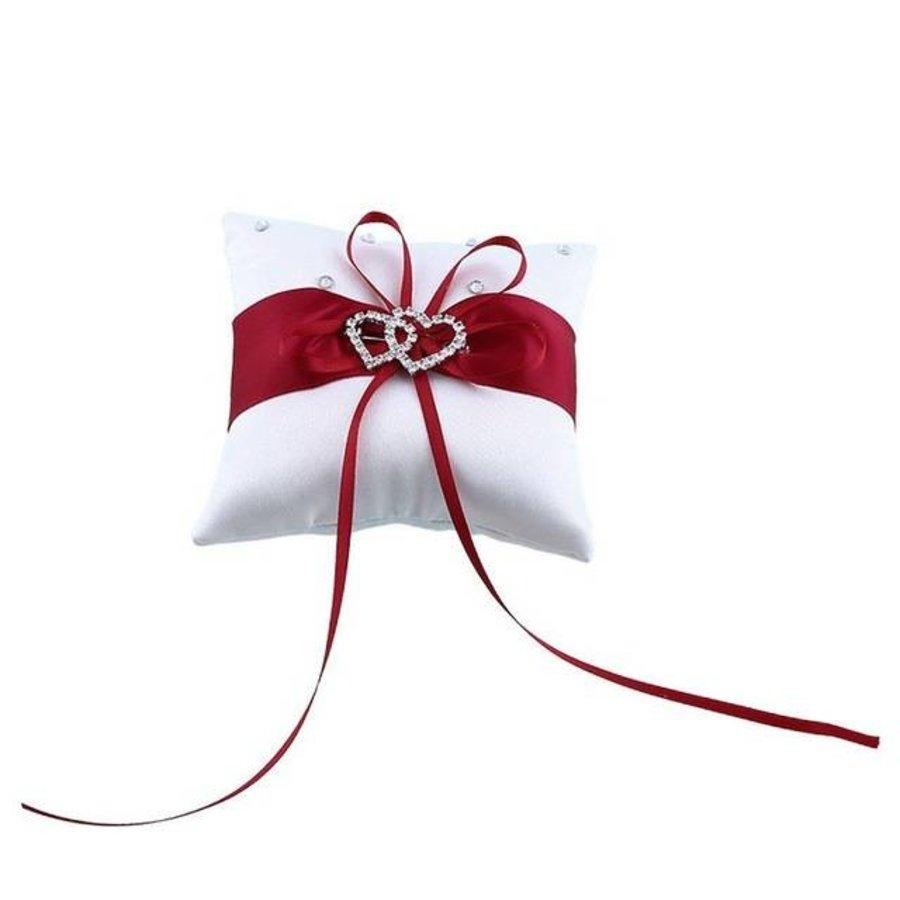 PaCaZa - Grote Ringkussen - Wit met Rood & Fonkelende Hartjes-6