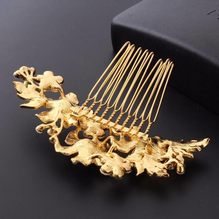 Goudkleurige Haarkam met Bloemen en Kristallen-3