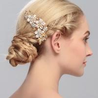 thumb-Goudkleurige Haarkam met Bloemen en Kristallen-1