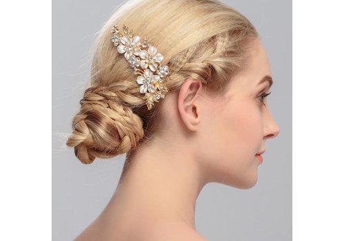 Goudkleurige Haarkam met Bloemen en Kristallen