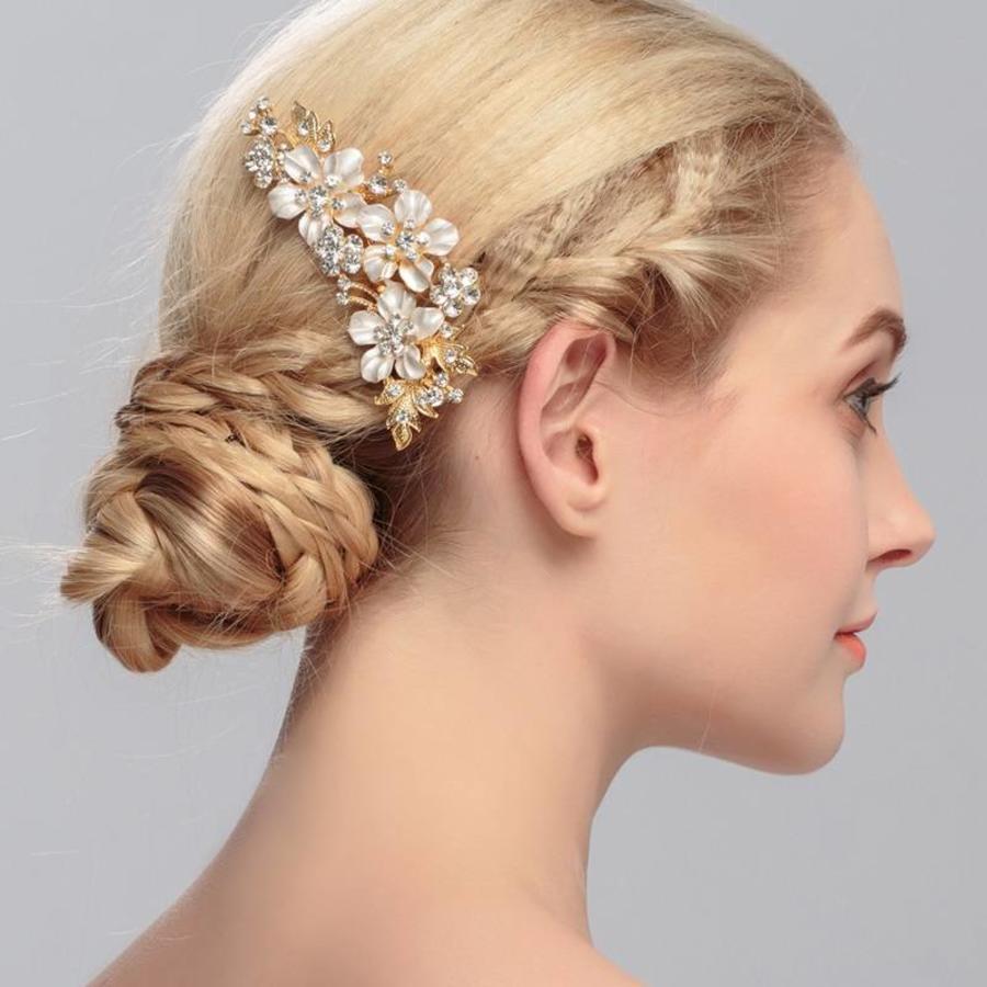 Goudkleurige Haarkam met Bloemen en Kristallen-1