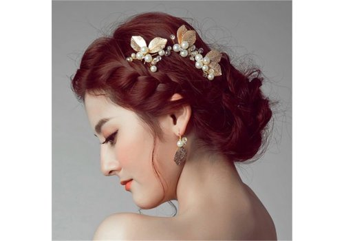Goudkleurige Hairpin met Ivoorkleurige Parels - 2 Stuks