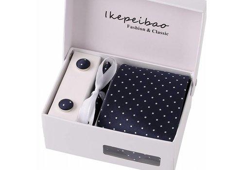 Elegante Stropdas Set in Geschenkdoos - inclusief Manchetknopen, Pochet en Dasspeld - K49 - Donker Blauw