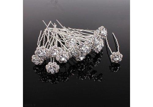 Hairpins – Zilver Grijs Roosje - 5 stuks