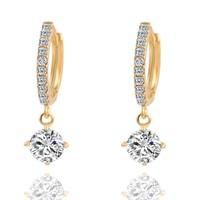 thumb-Elegante Goudkleurige Oorringen met Fonkelende Diamant-1