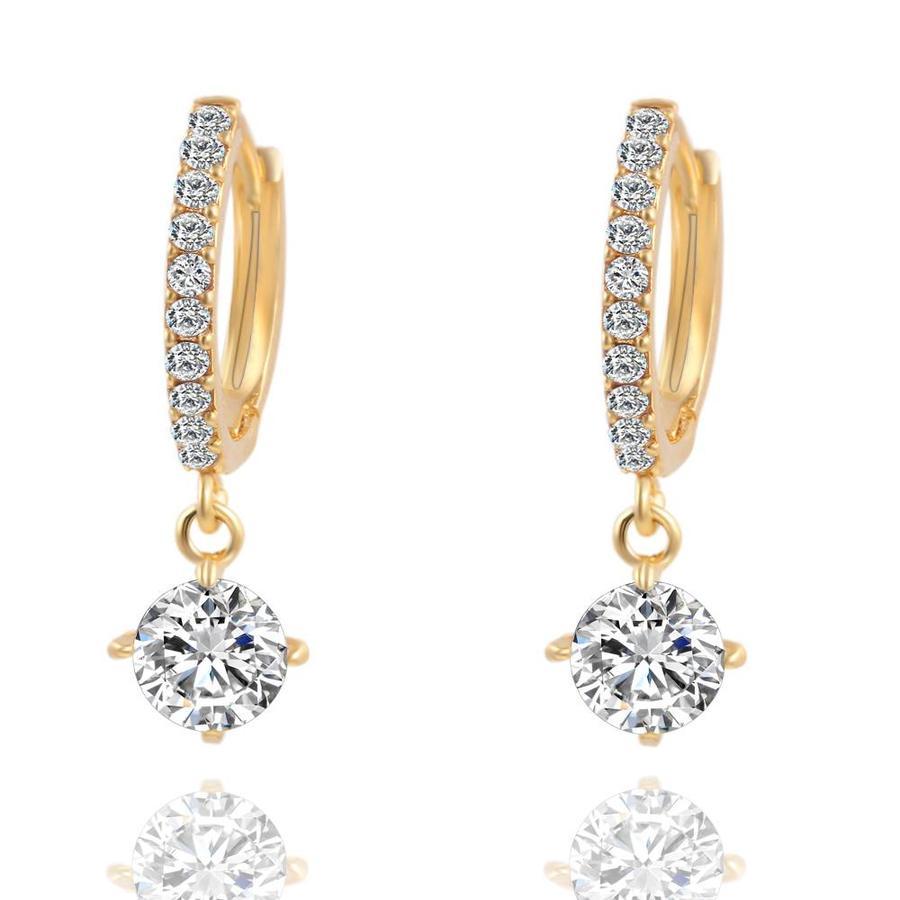 Elegante Goudkleurige Oorringen met Fonkelende Diamant-1