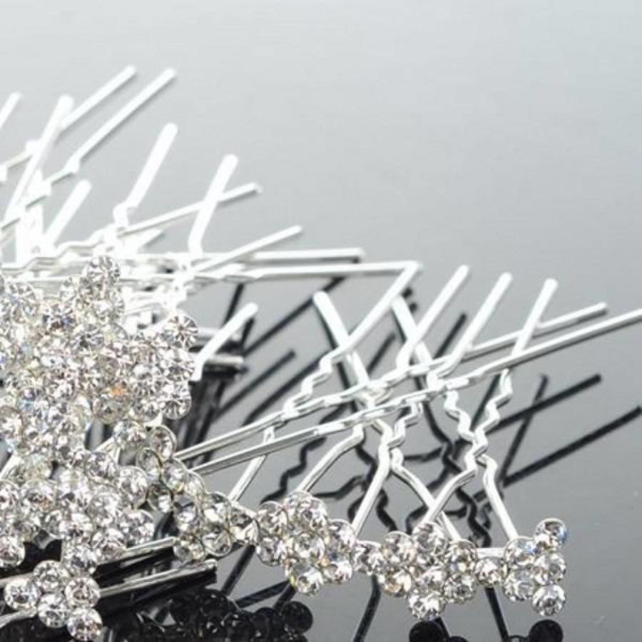 Hairpins / Haarpinnen – Strikje met Kristallen - 5 stuks-3