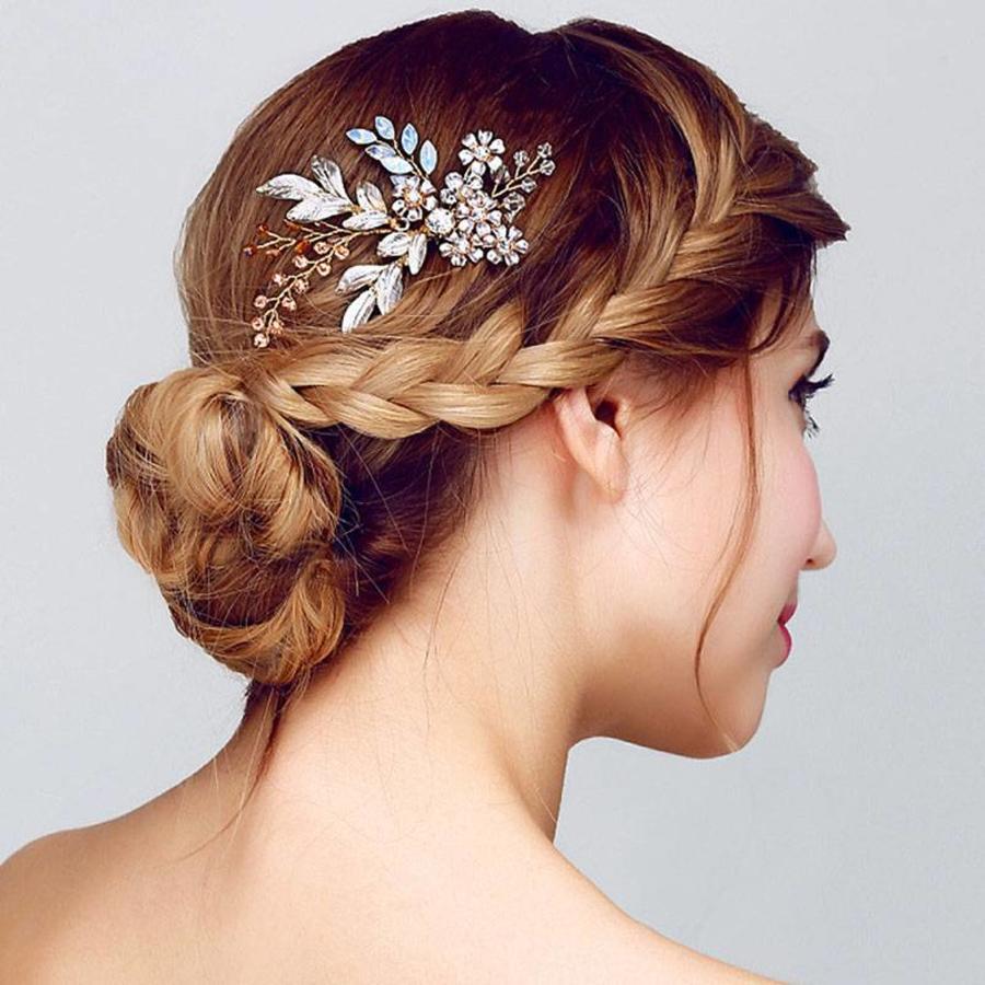 Goudkleurige Haarkam met Bloemen-1
