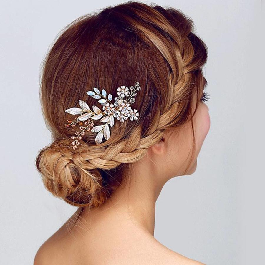Goudkleurige Haarkam met Bloemen-2